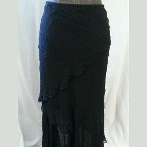 Cache Size Small Black Asymmetrical Layered Skirt